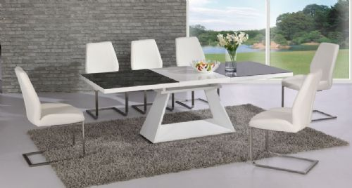 Silvano  Extending Black / White High Gloss Contemporary Dining Table & Dalia Dining Chairs